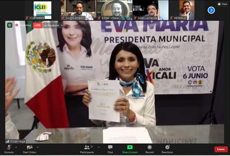 Firma del compromiso por el Desarrollo Sustentable y la Acción Climática de la candidata, Eva María Vázquez,en Mexicali, Baja California, México.