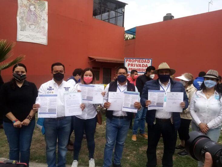 Firma del compromiso por el Desarrollo Sustentable y la Acción Climática de los candidatos Gabriel Rosales, Héctor  Hernández, Nitzia Rosas y Luis Barajas,  en Xochimilco,Ciudad de México.