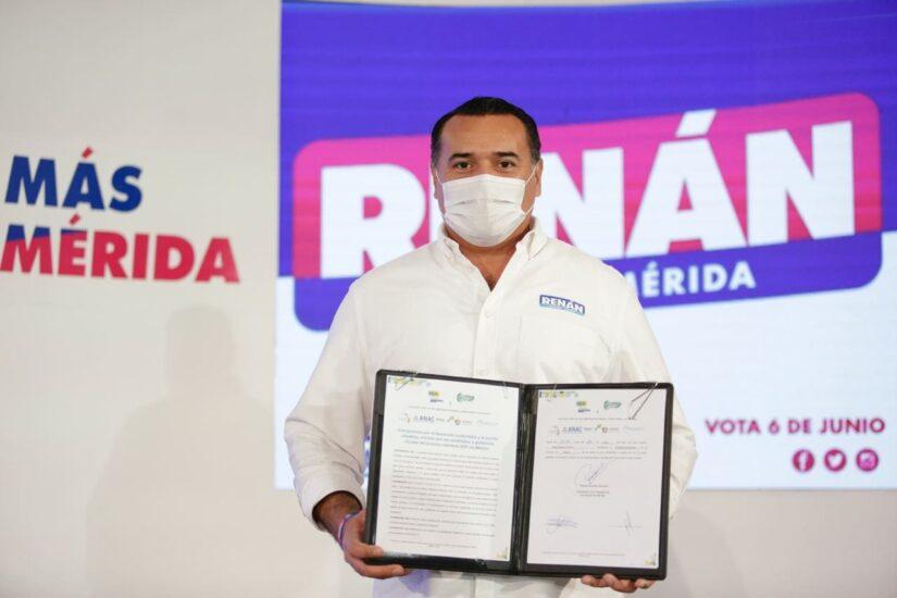 Firma del compromiso por el Desarrollo Sustentable y la Acción Climática del candidato, Renán Barrera Concha, en Mérida, Yucatán.