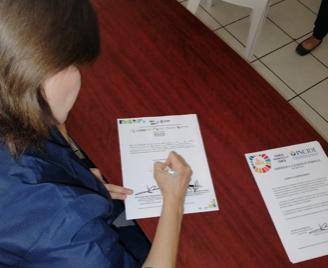 Firma del compromiso por el Desarrollo Sustentable y la Acción Climática de la candidata Esther Salas Reátiga en Hermosillo, Sonora